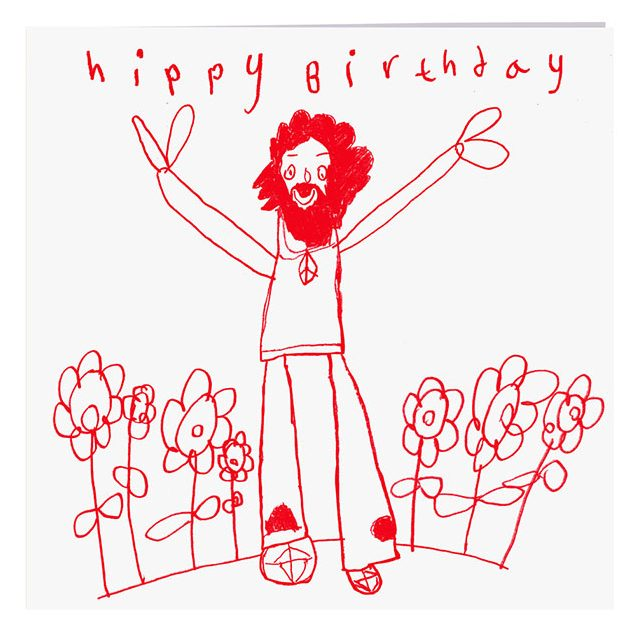 Hippy Birthday Card