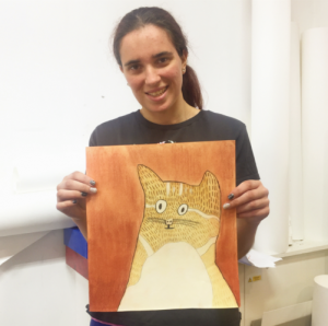 Isobel Phillips with Cat drawing